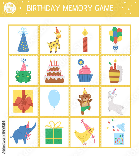 Vector Birthday memory game cards with traditional holiday symbols. Matching activity with funny characters. Remember and find correct card. Simple festive party printable worksheet for kids. . Wall mural