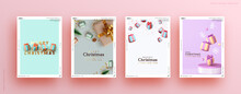 Set Of Christmas And New Year Holiday Gift Cards. Xmas Banners, Web Poster, Flyers And Brochures, Greeting Cards, Group Bright Covers. Design With Realistic Christmas Decoration Objects Gift Box