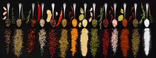 Various Spice And Herbs On Dark Background