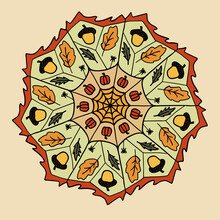 Colorful Hand Drawn Mandala  With Autumn Elements, Raster