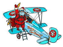 Santa Claus Gets On A Retro Plane. Christmas Story. White Isolated Background