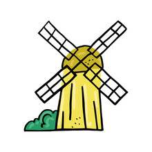 Vector Drawn Doodles With Image Of Isolated Windmill. The Concept Subsistence Farming, Villages, And Bread.
