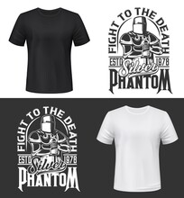 Tshirt Print With Knight And Sword Vector Mockup, Fight Club Mascot Medieval Warrior Wearing Helmet And Armor. Monochrome Apparel Design Silver Phantom Typography, Isolated T Shirt Print Or Label