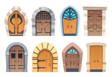 Cartoon Gates And Doors Vector Wooden And Stone Medieval Or Fairytale Arched Or Rectangular Entries. Palace Or Castle Exterior Design Elements With Forged And Glass Decoration And Ring Knobs Set