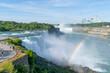 Niagara fall with rainbow visible.