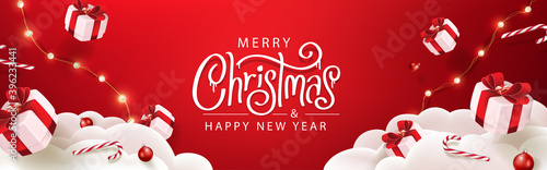 Merry Christmas banner template with festive decoration for christmas