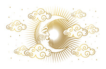 Magic Banner For Astrology, Tarot, Boho Design. Universe, Crescent Moon With Face And Clouds On White Isolated Background. Esoteric Vector Illustration, Pattern.