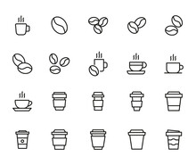 Set Of Coffee Related Vector Line Icons.