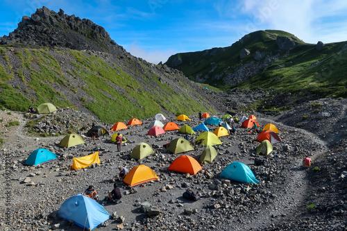 日本の百名山の白馬岳のテント場 Fototapeta