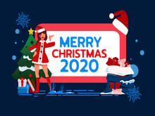 Teenager Girl Wear A Red Santa Suite. Vector Christmas Newyear 2020