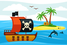 Pirate Ship Sailing Towards Treasure Island Illustration. Corsair Frigate With Black Sail Sails Near Palm Bay Buried Treasures Looted From Spanish Galleons Chests Of Gold. Cartoon Filibuster Vector.