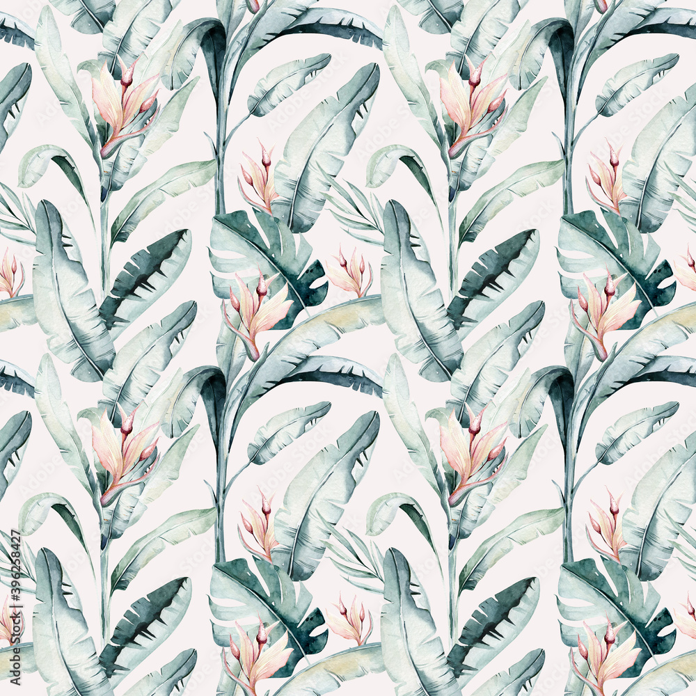 Fototapeta Tropical seamless pattern with flamingo. Watercolor tropic drawing, rose bird and greenery palm tree, tropic green texture, exotic flower
