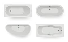 Bath Top View. Spa Room Items For Hygiene Washing Bath Realistic Templates. Bathtub And Bathroom, Spa Interior And Indoor Tub. Vector Illustration