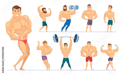 Muscular man. Gym characters sport people making exercises bodybuilders posing muscular athletes. Vector body fitness, healthy pose bodybuilding illustration