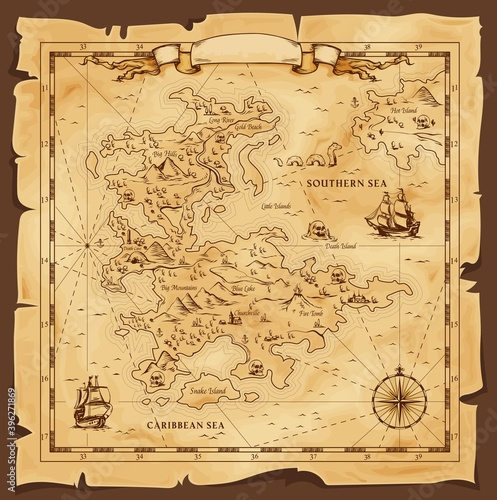 Tela Old map, vector worn parchment with caribbean and southern sea, ships, islands and land, wind rose and cardinal points