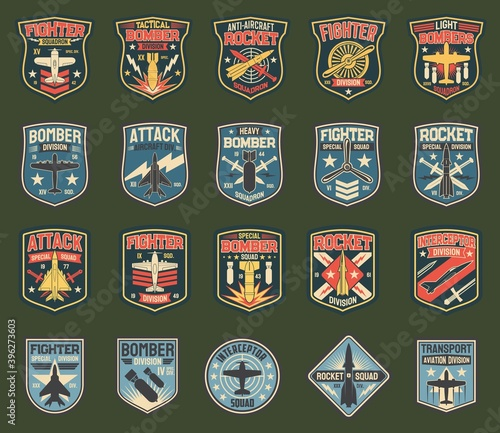 Obraz na plátne Army chevrons, vector stripes for fighter squadron, tactical, heavy and light bomber division, anti-aircraft rocket
