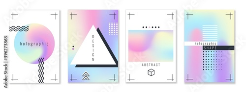 Fototapeta Holographic shapes posters. Trendy gradients metallic stains backgrounds, futuristic abstract pastel yellow and pink colors cards, fluid blotches geometric design. Vector banners set obraz