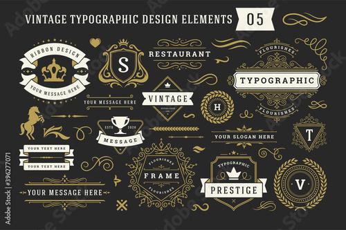 Obraz Vintage typographic decorative ornament design elements set vector illustration - fototapety do salonu