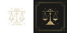 Zodiac Libra Horoscope Sign Line Art Silhouette Design Vector Illustration