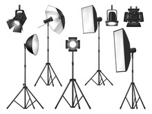 Photo Studio Lighting Equipment And Lights Isolated Vector Objects. Realistic 3d Spotlights And Tripod Stands With Flash Lamp, Reflector And Softbox, Umbrella And Floodlight, Photographer Lighting Kit