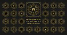 Vintage Monogram Alphabet Letter With Decorative Flourish Ornament Frame