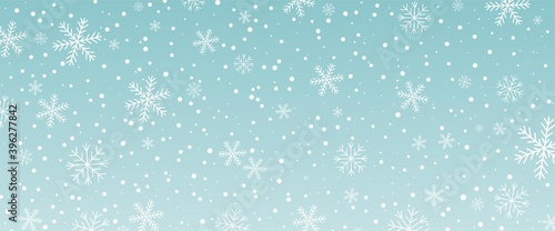 Leinwand Poster Horisontal blue background with snowfall