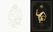 Zodiac Scorpio Girl Character Horoscope Sign Line Art Silhouette Design Vector Illustration