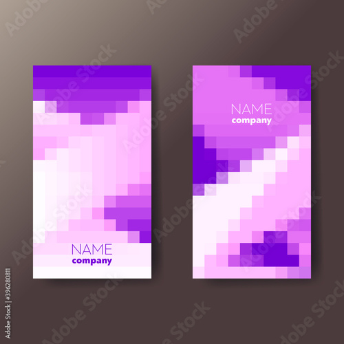 Fototapeta Set of two bright violet abstract vertical business cards with pixel graphic elements and text. Vector illustration. obraz na płótnie