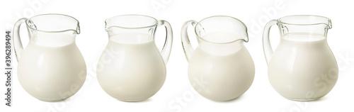 Canvas-taulu Set of milk jars isolated on white background