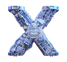 Initial Letter X 3D Sci-fi Logo. Cyber Technological Abstract Texture Alphabet Font. Robot Techno Style ABC Typeface 3d Symbol Isolated. Hi Tech Metallic Letter X Typography Text Design Illustration