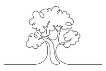 Tree In Continuous Line Art Drawing Style. Giant And Powerful Tree Black Linear Design Isolated On White Background. Vector Illustration