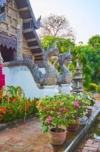 The Naga Guardians Of  Bhuridatto Viharn, Wat Chedi Luang, Chiang Mai, Thailand