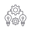 Idea management concept icon, linear isolated illustration, thin line vector, web design sign, outline concept symbol with editable stroke on white background.