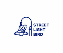 Street Light Pole Line Art Logo Design. Bird Sitting On Lamp Post Vector Design. Column Street Lighting Logotype