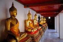 Row Of Golden Buddha Image Statue In Thailand (Bangkok, Thailand)