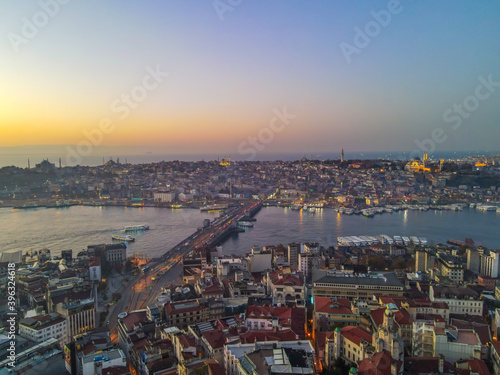 Fototapety, obrazy: Aerial Golden Horn of Istanbul with beautiful colors at Sunset.