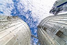 View From Below On Steel Grain Elevators. Modern Up To Date Factory. Selective Focus.