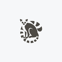 Ring Tailed Lemur Simple And Flat Icon Logo Design Vector