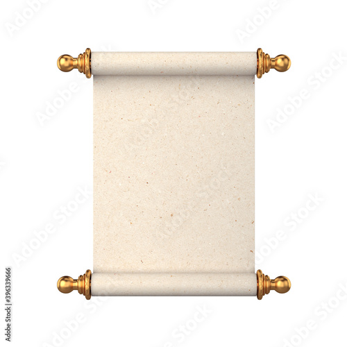 Unfolded scroll of paper with gold handles on a white background, 3D render © salamahin
