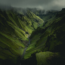 Aerial View Of Stunning Valley Landscape And River In The Southern Region, Iceland.