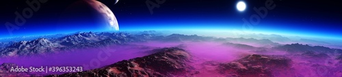 Tablou Canvas Beautiful alien landscape from low orbit, panorama of another planet at sunset,