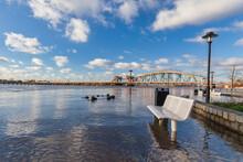 The Flooded Dutch River IJssel In Front Of The City Of Zutphen In Gelderland, The Netherlands