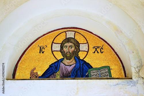 Mosaic of Jesus Christ outside of a Christian orthodox church in Athens, Greece, April 10 2020 Billede på lærred