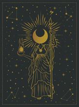 Moon Girl, Goddess Mystical Symbol, Tarot Cards