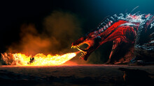 Giant Dragon Explode A Fire Breathe On A Heroic Medieval Knight On A Horse In A Black Night, The Epic Battle Between Good And Evil - Concept Art - 3D Rendering