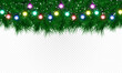 Christmas tree branches with holiday garland isolated on transparent background.