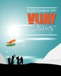 Vector illustration of Vijay Diwas (VICTORY DAY)banner, 16 december 1971, India flag, soldier with rifle and helmet, flying birds, banner template for websites.