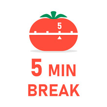 5 Min Break With Tomato Timer Poster. Clipart Image