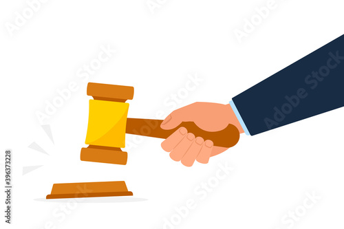 Fotografie, Tablou Hand holding gavel or auction hammer clipart image