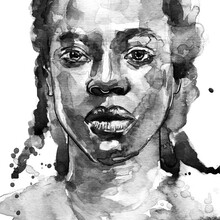 Coffee Watercolour Portrait Of A Beautiful African Afro American Woman With Splatter